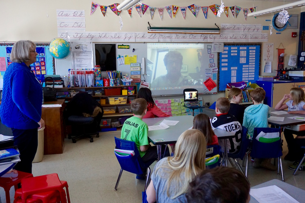 "<h1>Virtual Visit with Astrophysicist</h1> <p>Nancy Hubbard's third-grade class at Grace McWayne is studying the sun, moon, and stars in science and got a unique opportunity to ask astrophysicist Dr. John Peterson questions via a Google Hangout.<br />  <br /> <strong><a href=""http://gms.bps101.net/news/virtual-visit-from-an-astrophysicist/"">Read more ></a></strong></p>"